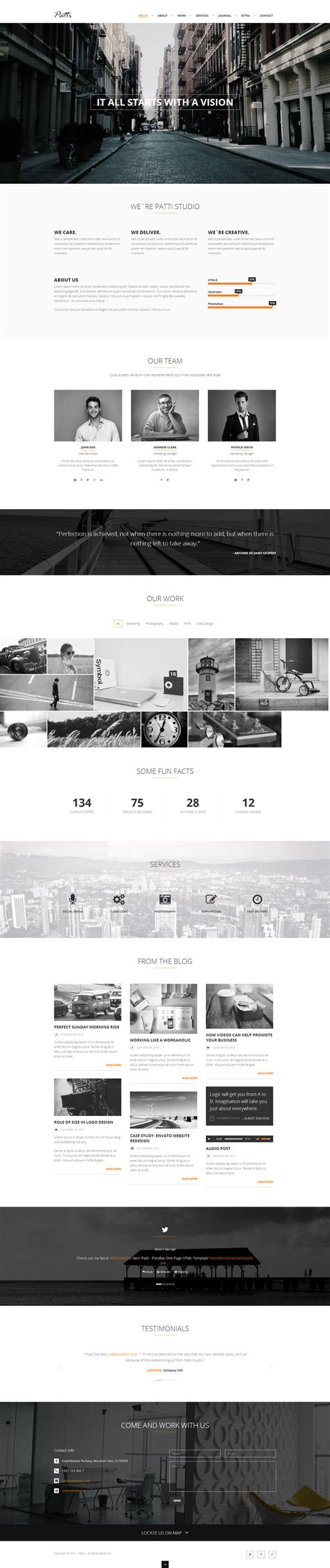 patti parallax one page html template by darkstalkerr on