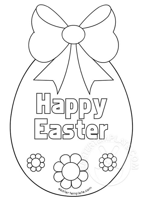 happy easter egg coloring page easter template