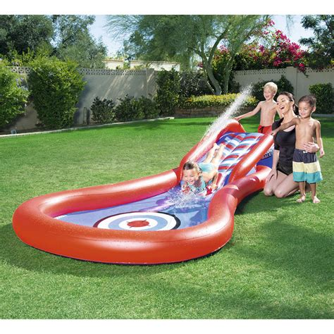 inflatable backyard pool splash and play cannon ball water slide backyard