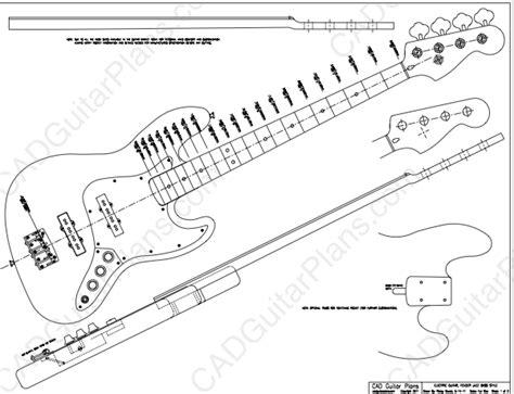 bass guitar templates pdf jazz bass electric guitar plan fender cad guitar plans