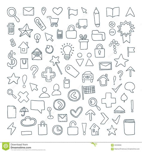 doodle icons free vectors vector doodle icons set stock vector image 59538968