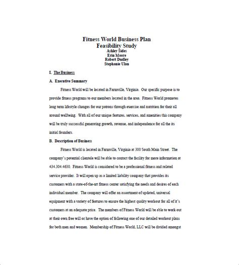 fitness business plan template business plan template 13 free word excel pdf