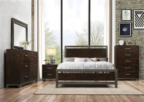 charleen rich walnut finish metal trim bedroom collection