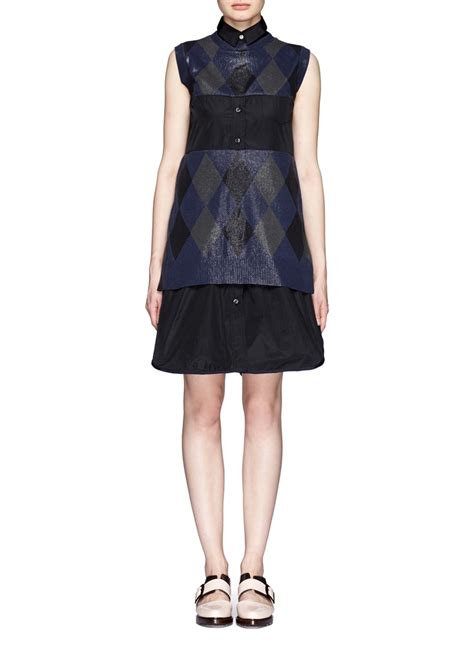 dress pattern with collar lyst sacai detachable collar argyle pattern dress in blue