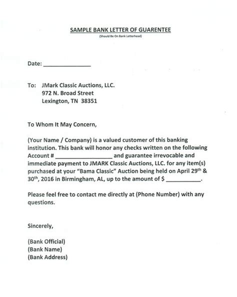 Bank Letter Of Credit For Auction Bank Letter