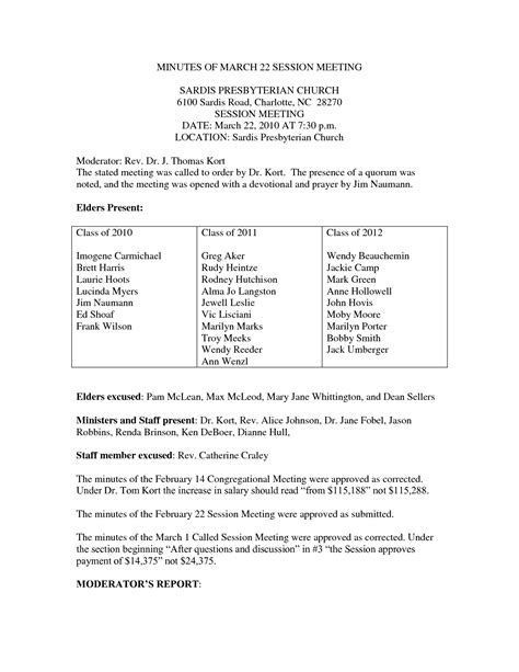 church minutes template best photos of church board meeting minutes template
