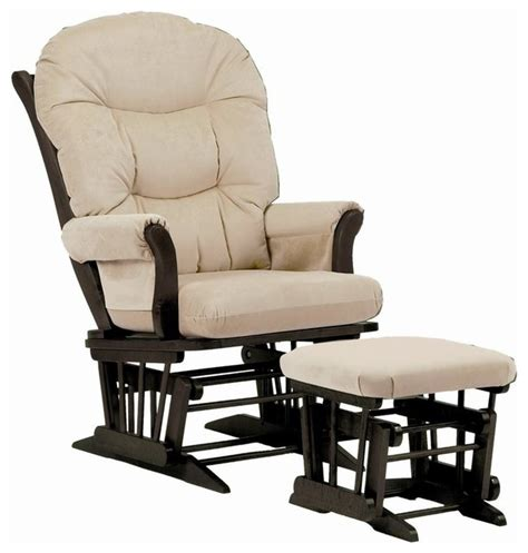glider rocking chair and ottoman sleigh glider chair w ottoman beige contemporary