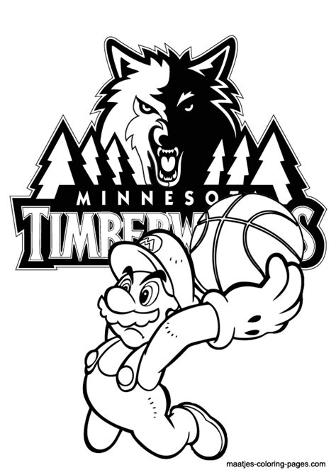 mario basketball coloring pages minnesota timberwolves and super mario nba coloring pages