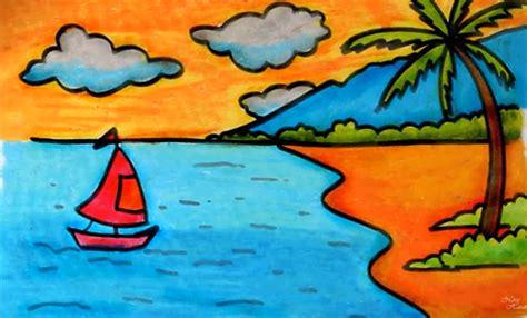 tutorial menggambar pemandangan menggambar pantai dengan krayon untuk pemula menggambar unik