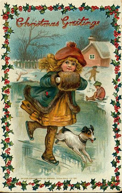 images of victorian christmas cards little girl skating vintage victorian christmas postcard