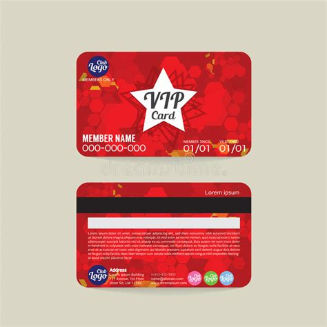 vip member card template front and back vip member card template stock vector