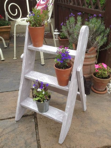 Patio Plant Shelves by Shabby Chic Wooden Garden Colour Plant Stand Ladder