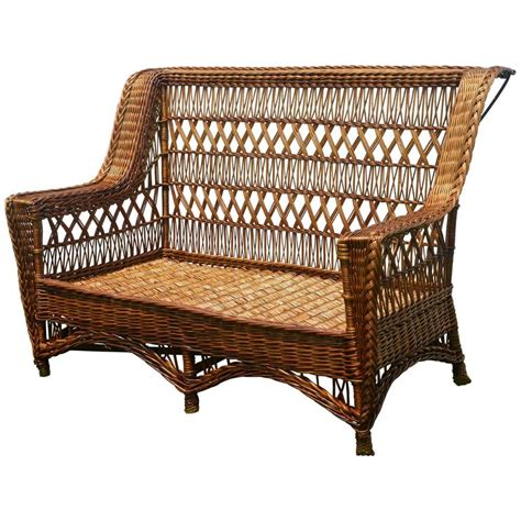 antique paine furniture willow triple cross wicker settee