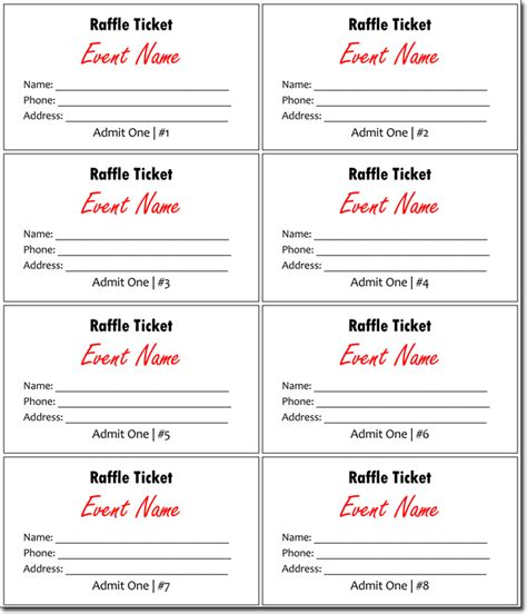 8 free raffle ticket template for wordreference letters words