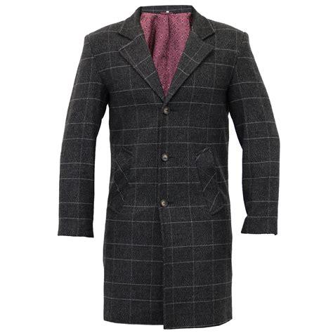Jaket Mix Line mens wool mix trench coat checked jacket herringbone