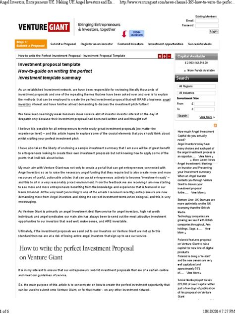investment proposal template docshare tips