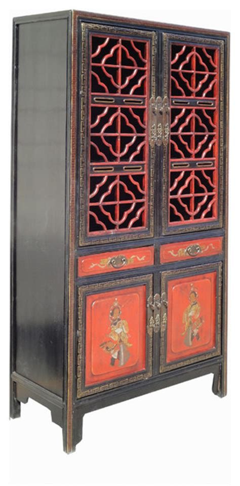 antique red kitchen cabinets chinese antique red gold opera painting kitchen storage