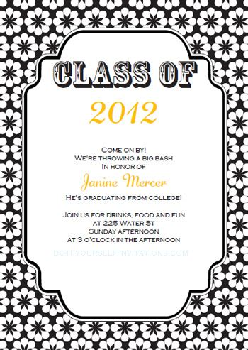 college graduation invitation templates printable free