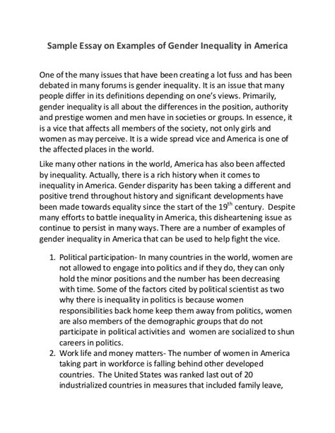 Gender Equality Essay Paper by Sle Essay On Exles Of Gender Inequality In America