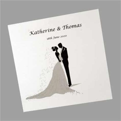 Wedding Announcement By And Groom by And Groom Silhouette Square Folding Wedding