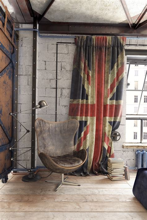 union jack bedroom curtains urban style for apartment interior design ideas which