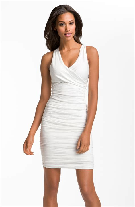 Nicoles Dress by Miller Stretch Cotton Sheath Dress In White Lyst