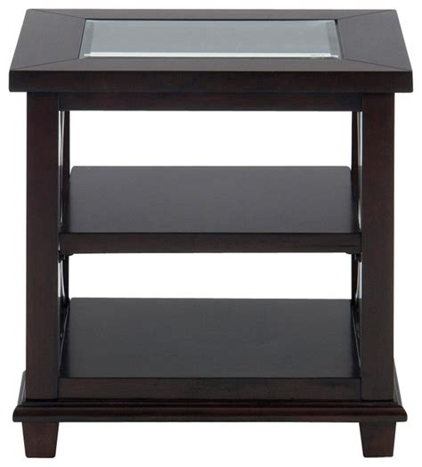 Table With Shelves by Jofran Panama Rectangle End Table With 2 Shelves And Glass Insert Traditional Side Tables
