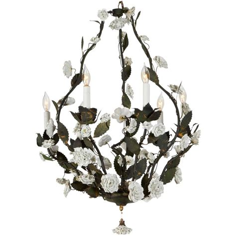 Italian Tole Chandelier Mid Century Italian Tole Chandelier With White Porcelain Flowers At 1stdibs