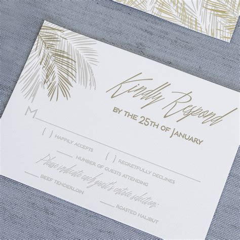 Tropical inspired palm leaf letterpress wedding invitations
