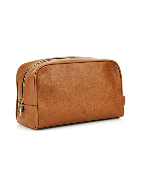 Asos Leather Wash Bag In Brown lyst mulberry leather wash bag in brown for