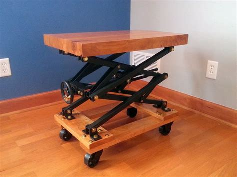 wood scissor lift table plans industrial style end tables and industrial on