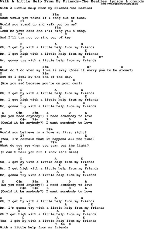 Printable Beatles Lyrics | love song lyrics for with a little help from my friends