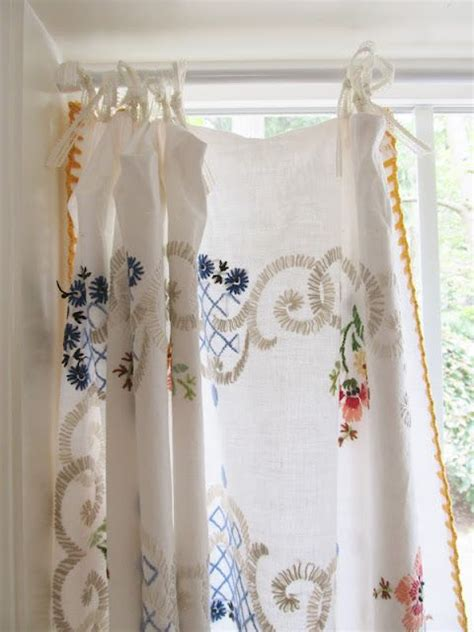 vintage tablecloth curtains lovely vintage embroidered tablecloth as curtain via