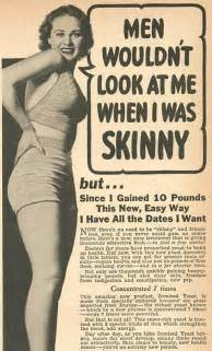 Vintage ads promoting benefits of weight gain for women lost at