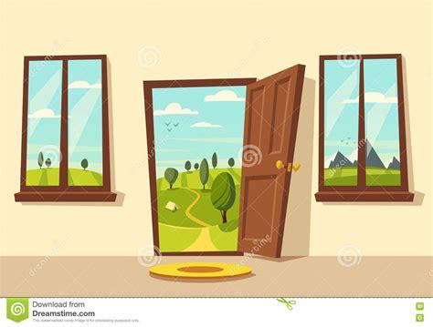 open door valley landscape vector illustration stock vector image 81162576