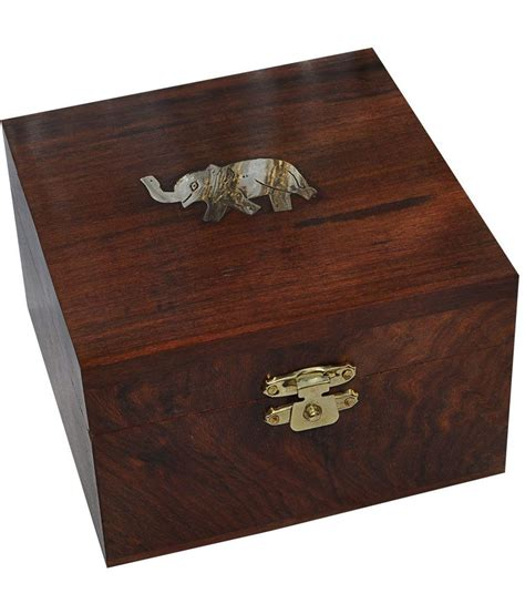 asiacraft handmade wooden jewelry box brass elephant