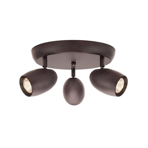 hton bay 3 light bronze led dimmable spot light with