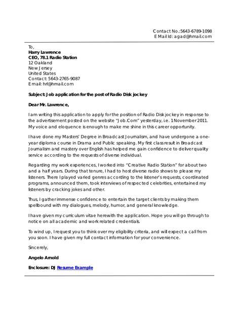 Disk Jockey Resume Cover Letter