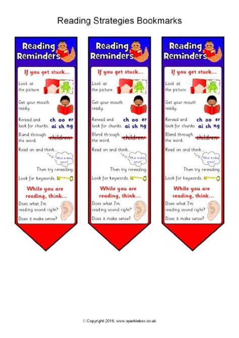 printable bookmarks with reading strategies reading strategies bookmarks sb11512 sparklebox