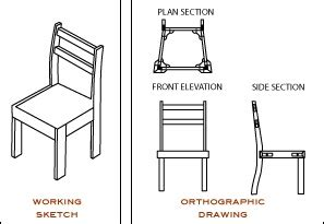 chair side view drawing orthographic drawing and working sketch orthographic