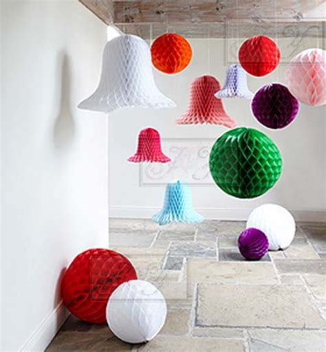How To Make Honeycomb Paper Decorations - 4x 8 20cm tissue paper pom pom honeycomb lantern