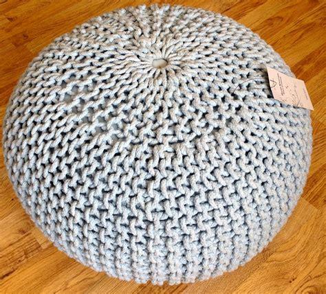 knitted poufs uk large stylish modern foot stool pouffe seat knitted cotton
