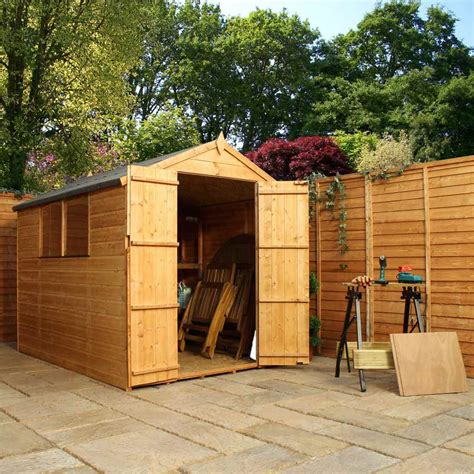 shedswarehouse oxford 8ft x 6ft tongue groove apex shed with doors 2 windows