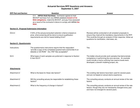 actuarial services rfp questions and answers september 5 2007