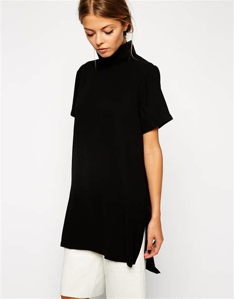 asos longline high neck tunic top in black lyst