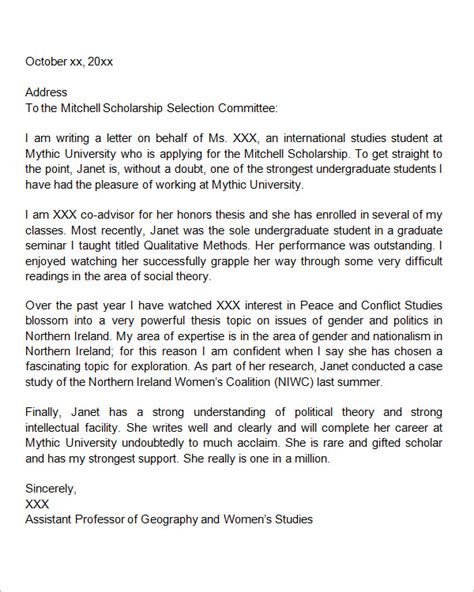 Letter Of Recommendation For College Scholarship From Pastor letter of recommendation for college scholarship from