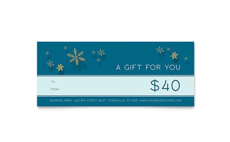 golden snowflakes gift certificate template word publisher