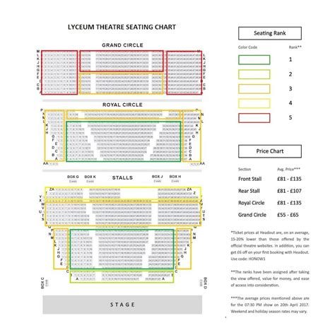 theatre royal seating chart lyceum theatre seating plan the king guide