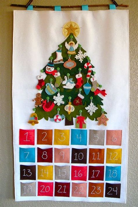 felt advent calendar christmas tree with ornaments that