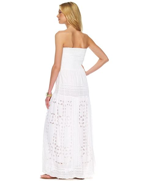 Mira Dress Dress Longdress Dress Terbaru Maxi Dress lyst michael kors smocked eyelet maxi dress white in white